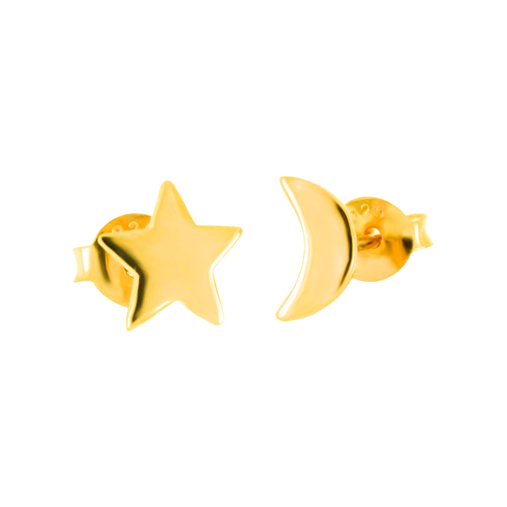 Sterling Silver Moon & Star Gold Plated Stud Earrings
