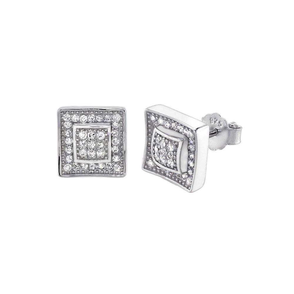 Sterling Silver Cubic Zirconia Double Square Stud Earrings