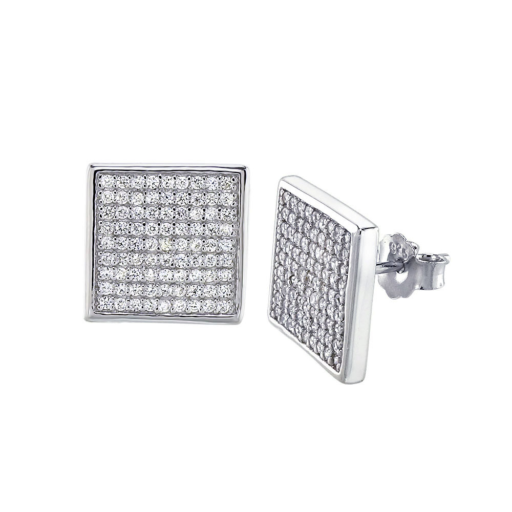Sterling Silver Cubic Zirconia Micro Pave  Rhodium Earrings