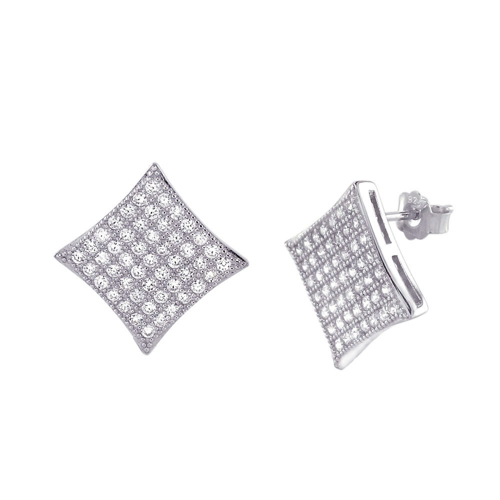 Sterling Silver CZ Micro Pave Rhodium Stud Earrings