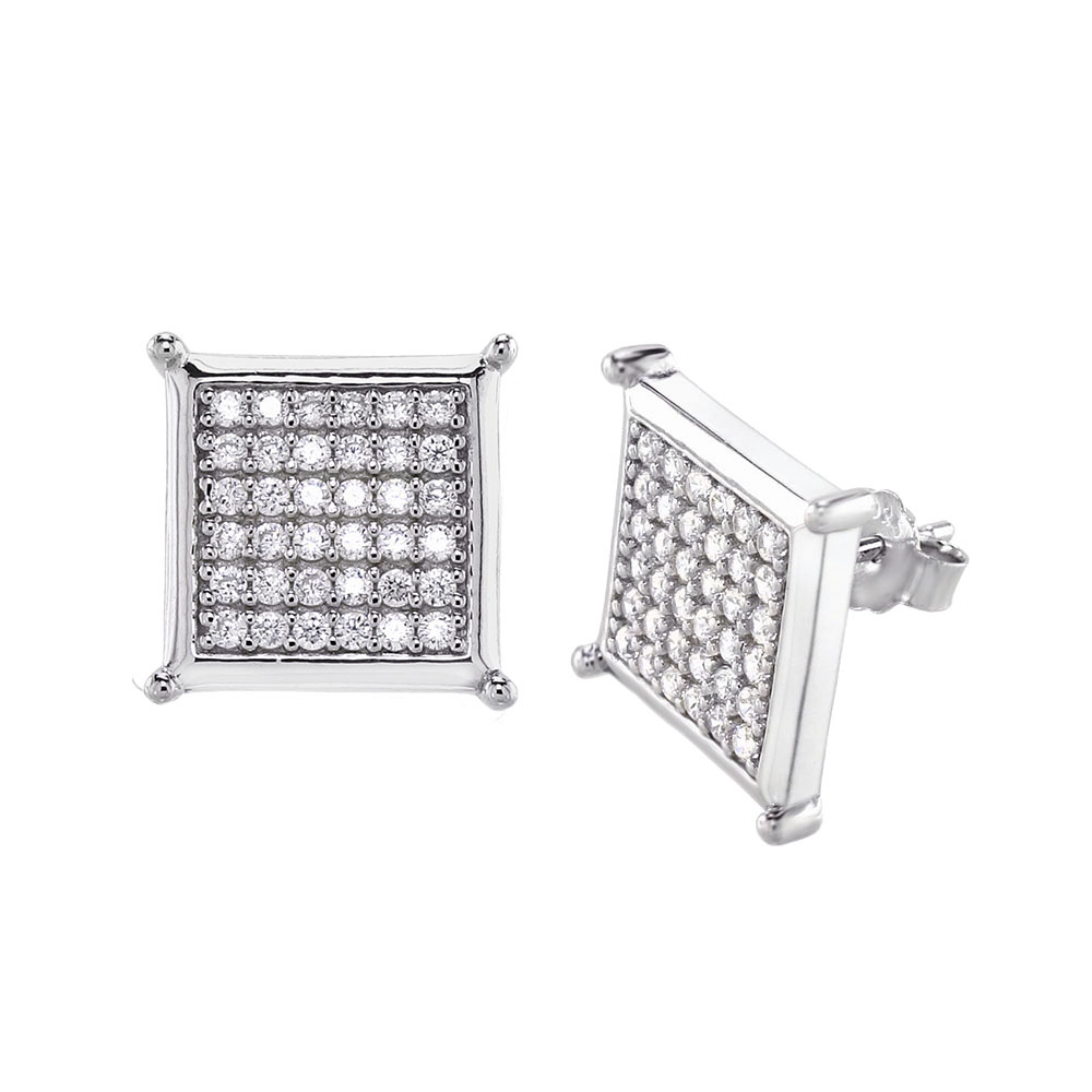 Sterling Silver Cubic Zirconia Micro Pave Rhodium Stud Earrings