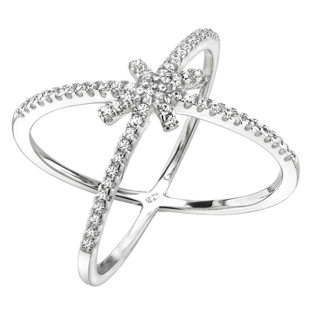 Sterling Silver Micro Pave CZ Criss Cross Ring