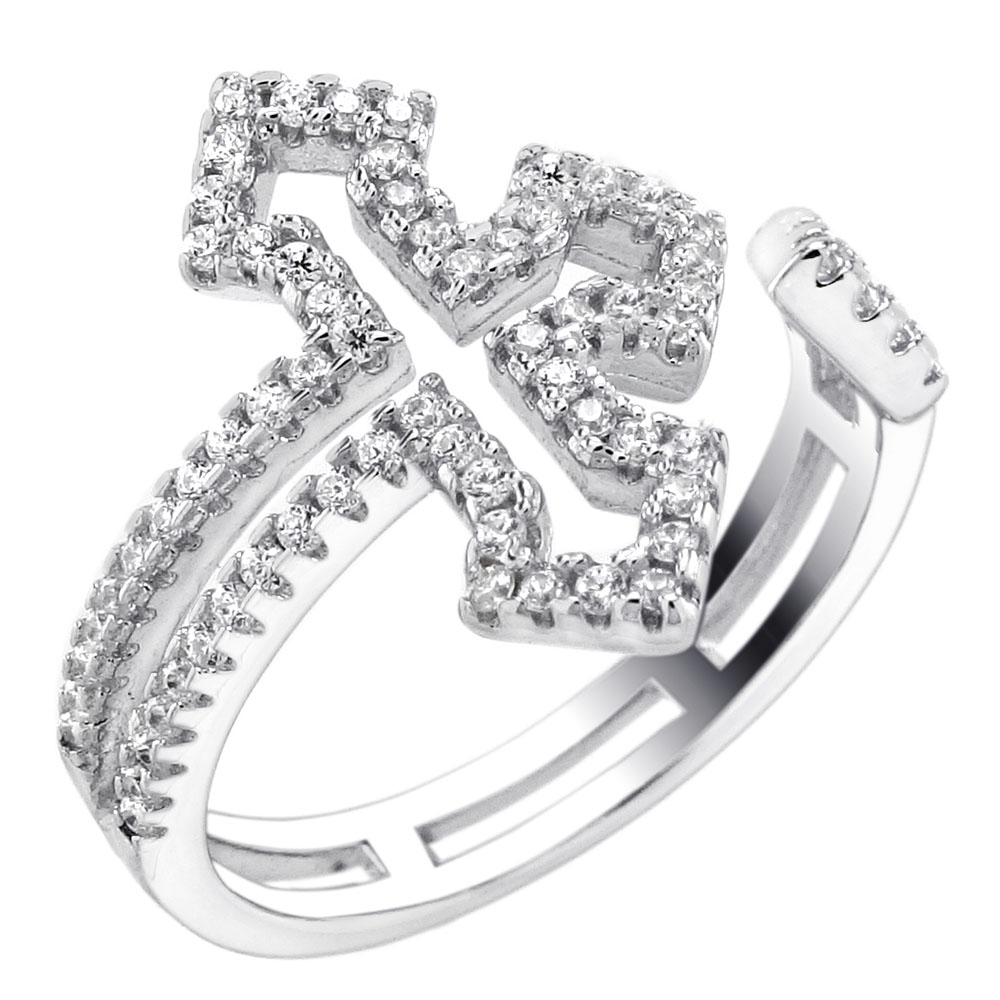 Sterling Silver Micro Pave Cubic Zirconia Cross Ring