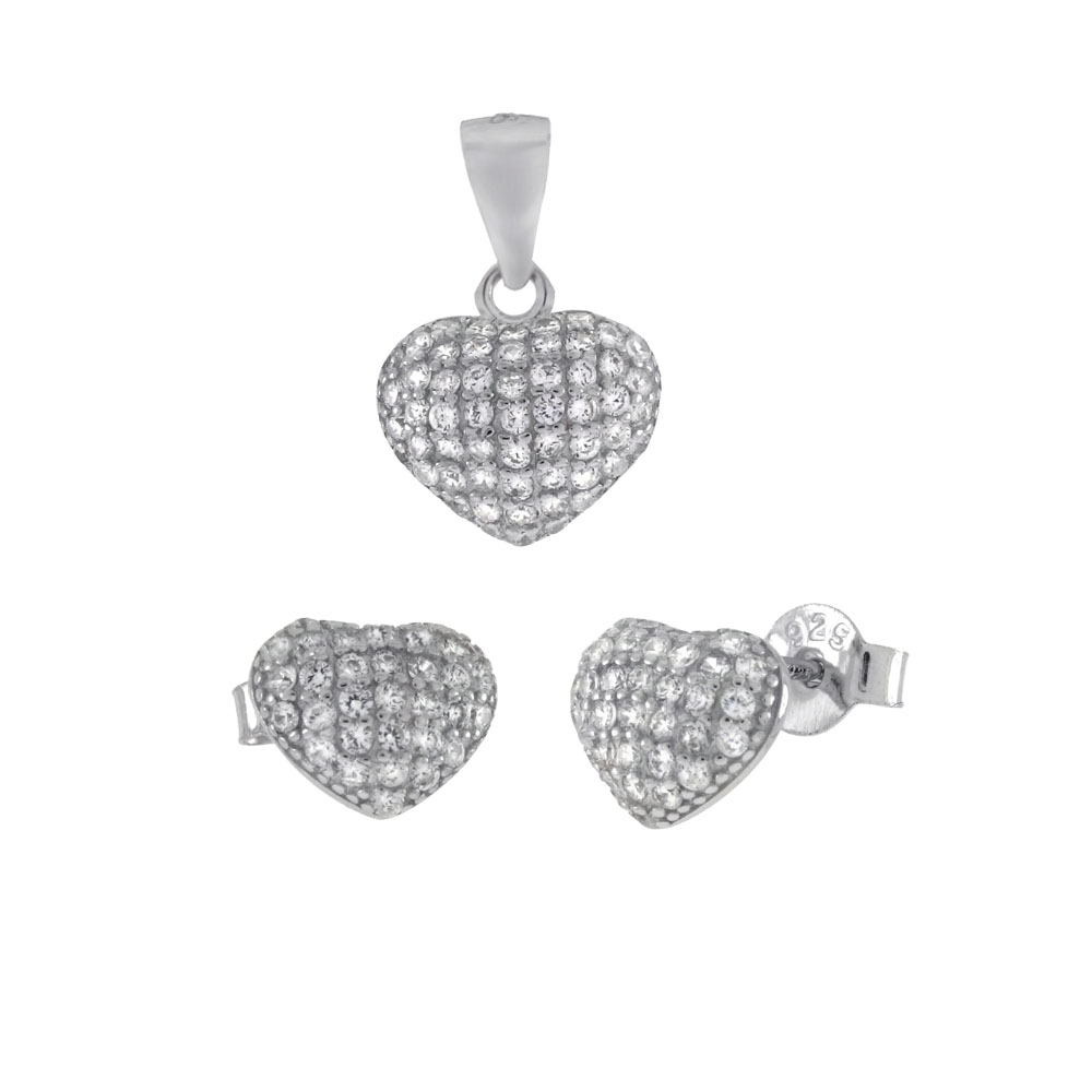 Sterling Silver Pave CZ Heart Earrings & Pendant Set