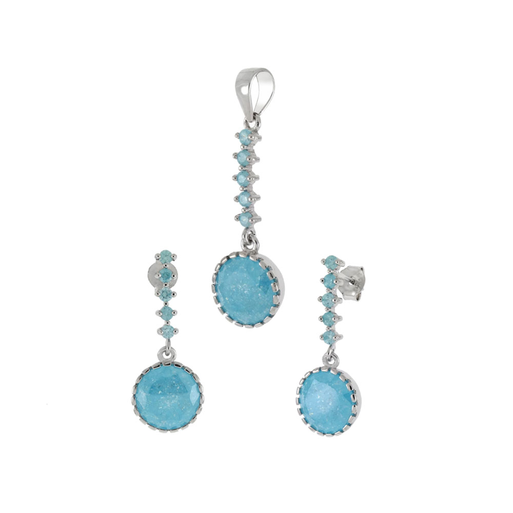 Sterling Silver Crash Stone Earrings & Pendant Set