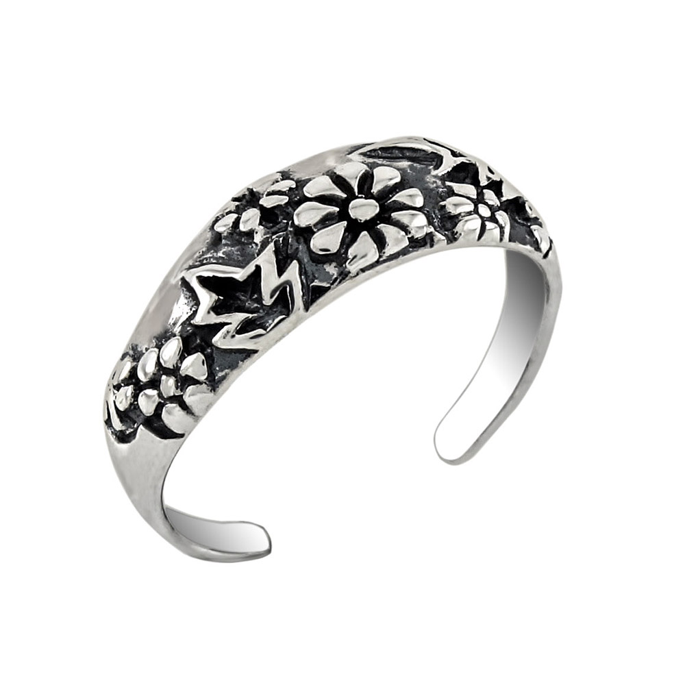 Sterling Silver Flower Band Toe Ring