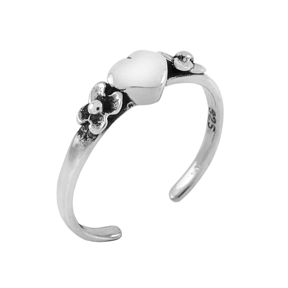 Sterling Silver Heart Toe Ring Adjustable Size