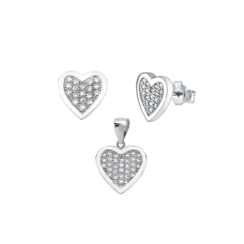 Sterling Silver Micro Pave CZ Heart Earrings & Pendant Set