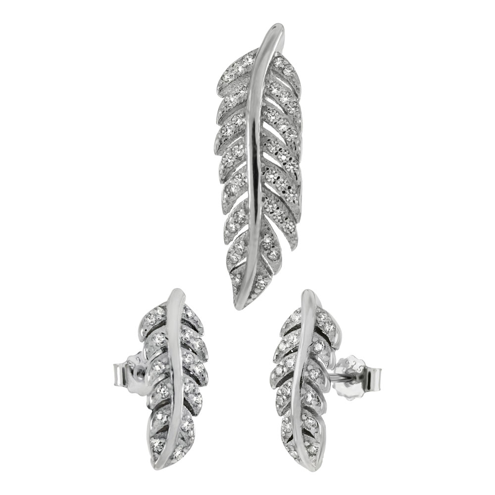 Sterling Silver CZ Feather Earring & Pendant Set