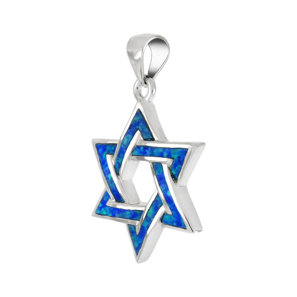 Sterling Silver Simulated Blue Opal Star of David Pendant