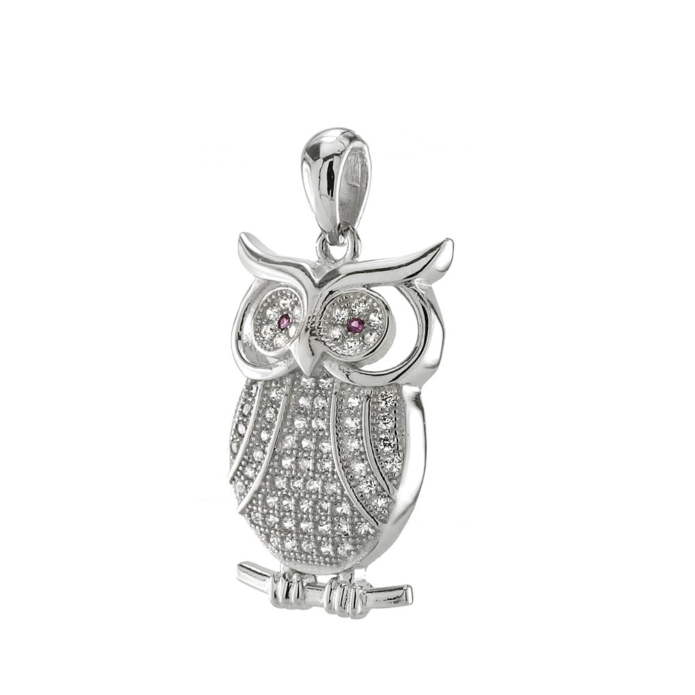 Sterling Silver Pave CZ OWL Pendant