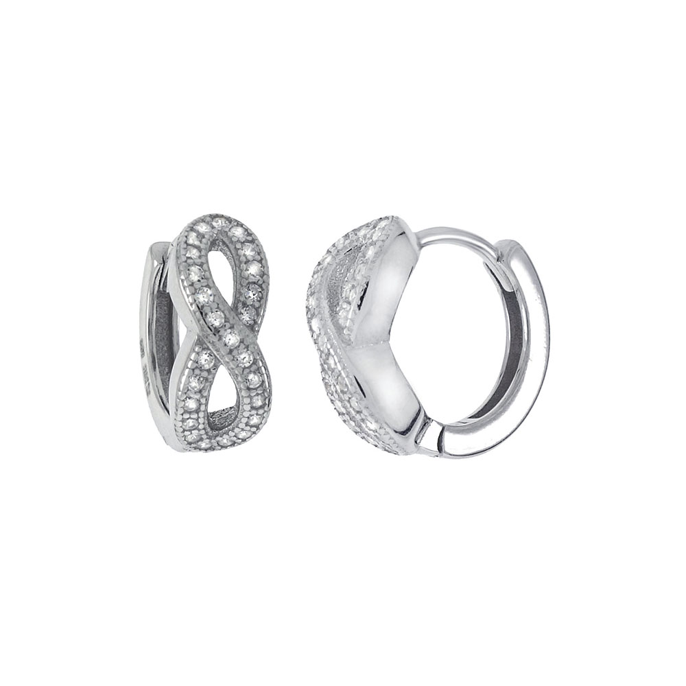 Sterling Silver Infinity Cubic Zirconia Huggie Hoop Earrings