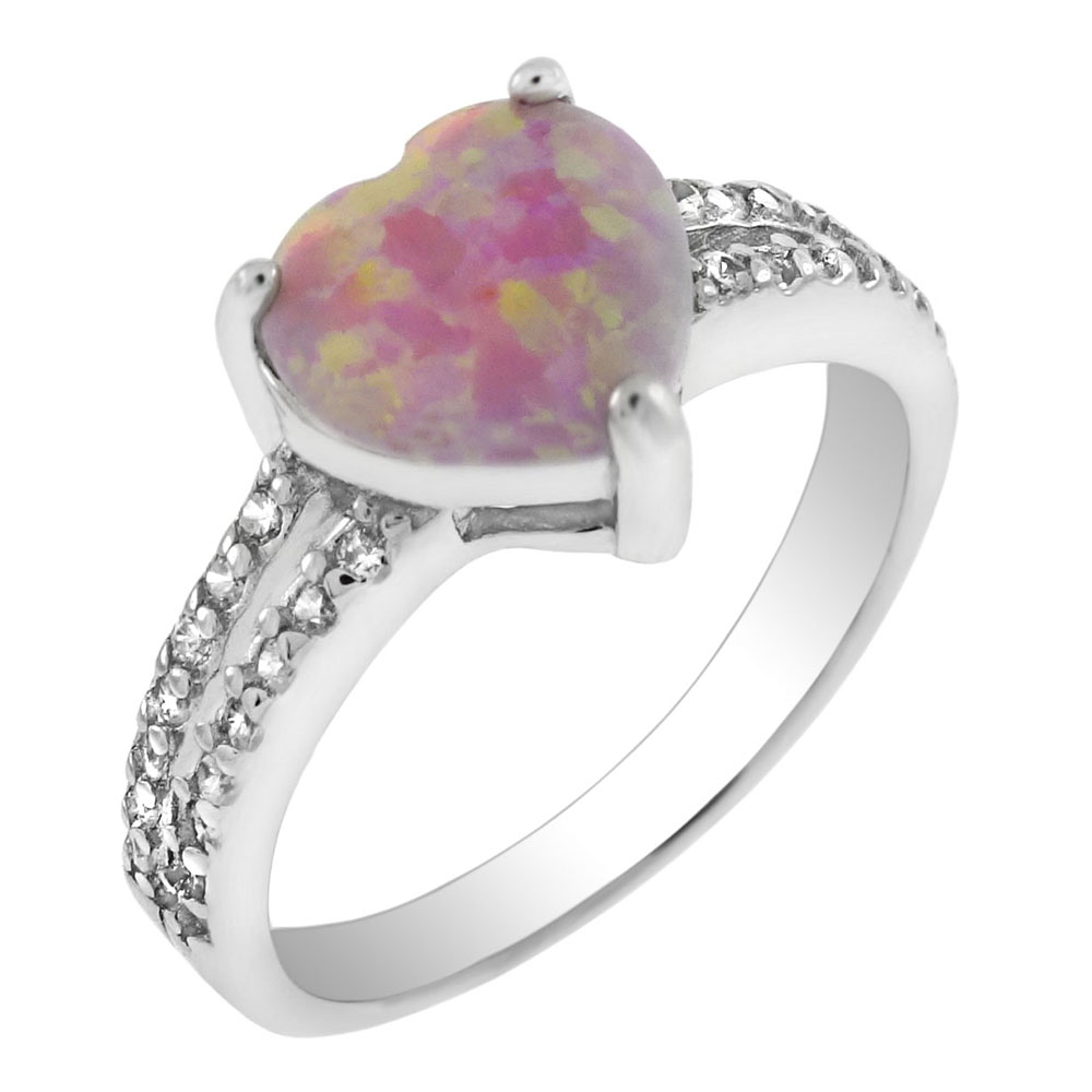 Sterling Silver Simulated Pink Opal W. CZ Engagement Ring