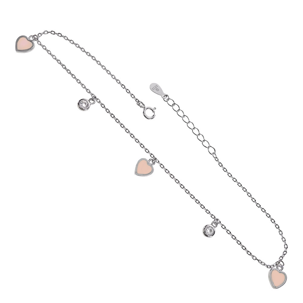Sterling Silver CZ & Pink Enamel Heart Charms Rhodium Anklet