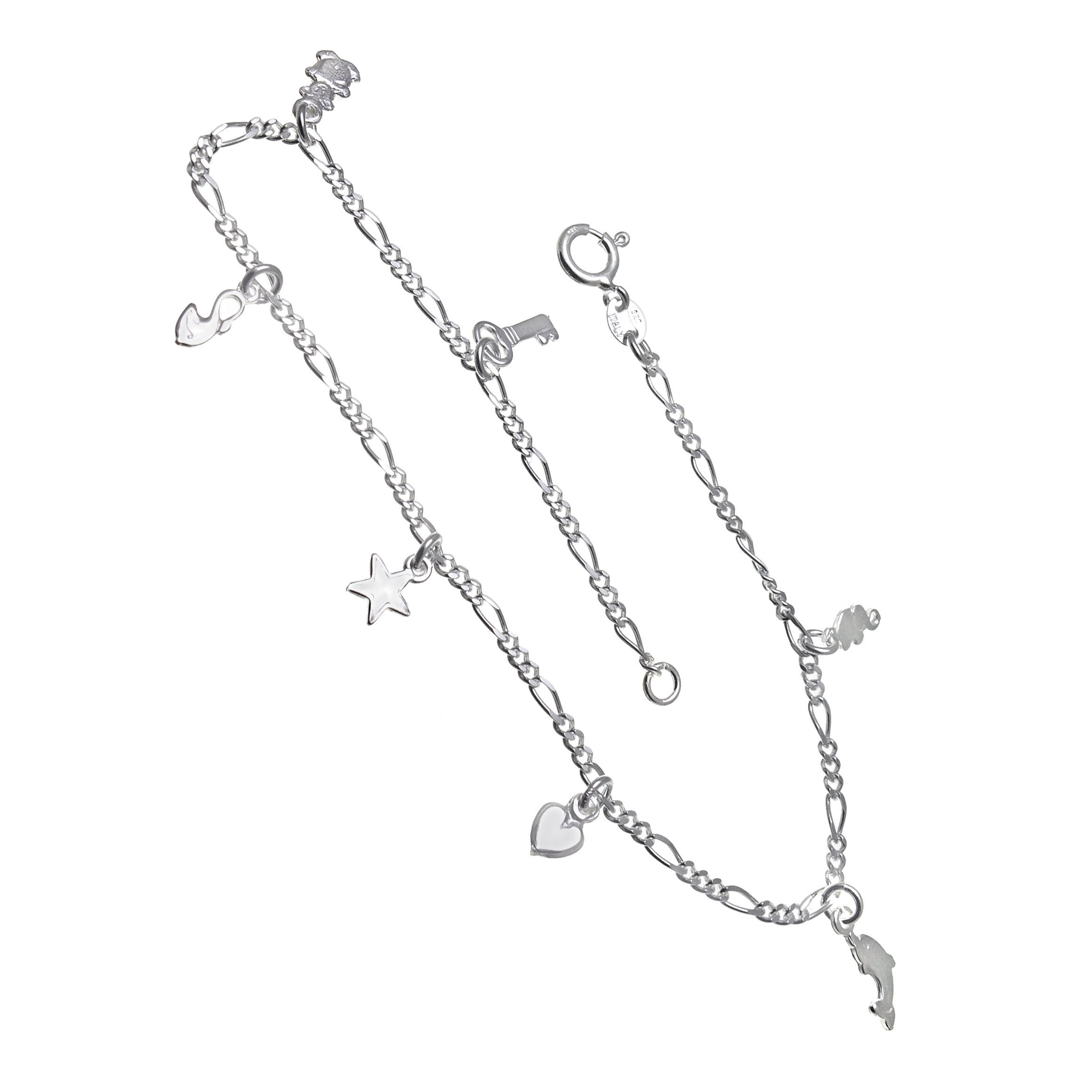 Italian Sterling Silver Figaro W. Charms Anklet
