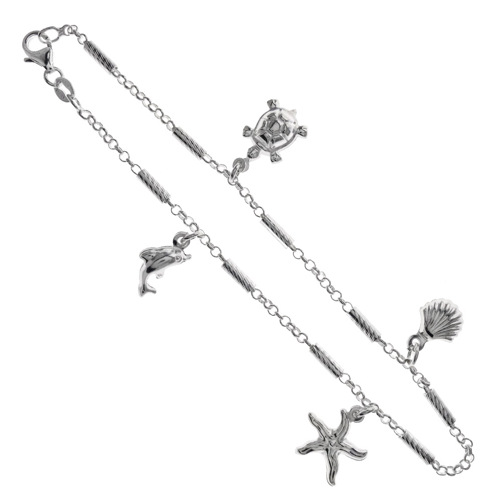 Sterling Silver Fancy Rolo D/C W. Sea Charms Anklet
