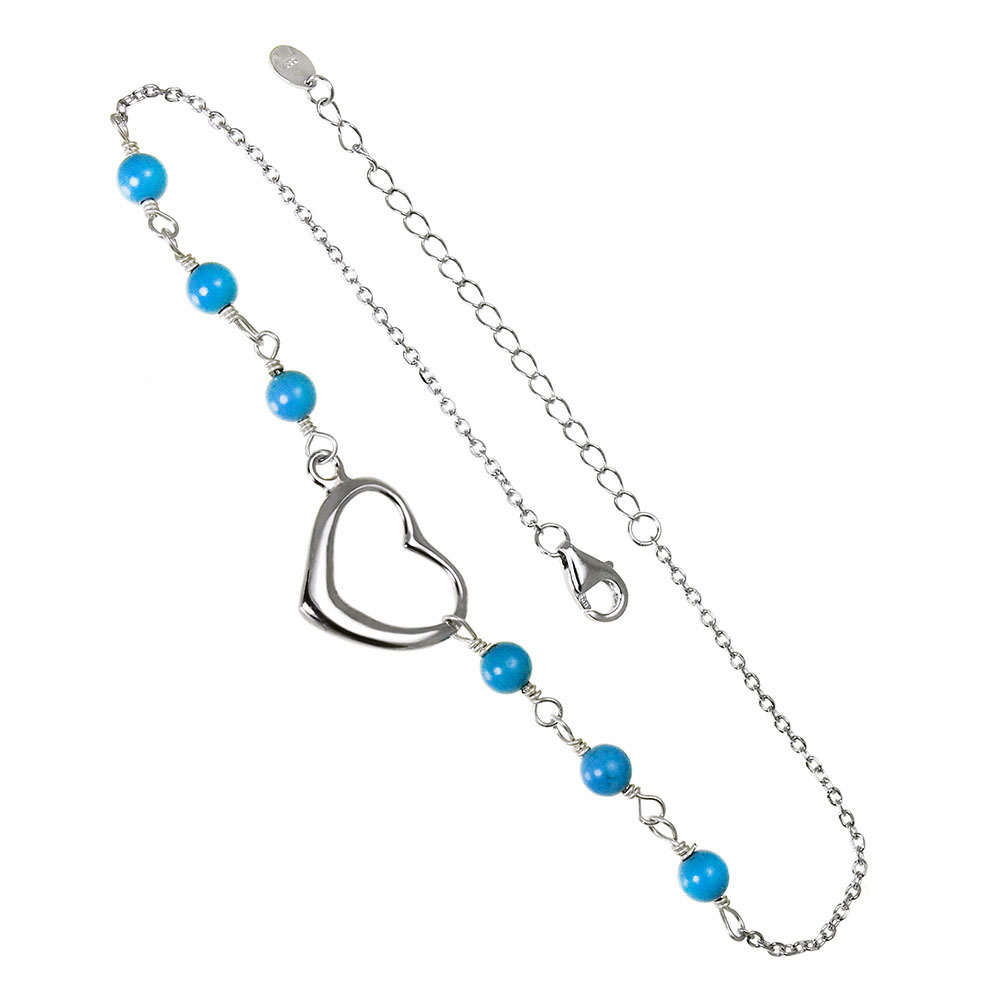 Sterling Silver Turquoise W. Floating Heart Anklet