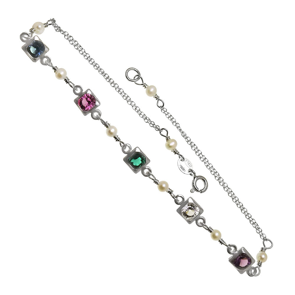 Sterling Silver Multi Color Austria Crystal & Pearl Anklet