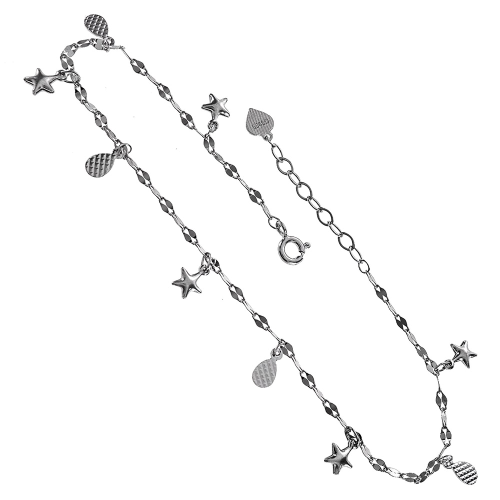 Sterling Silver Dangle Star & D/C Charms Rhodium Anklet