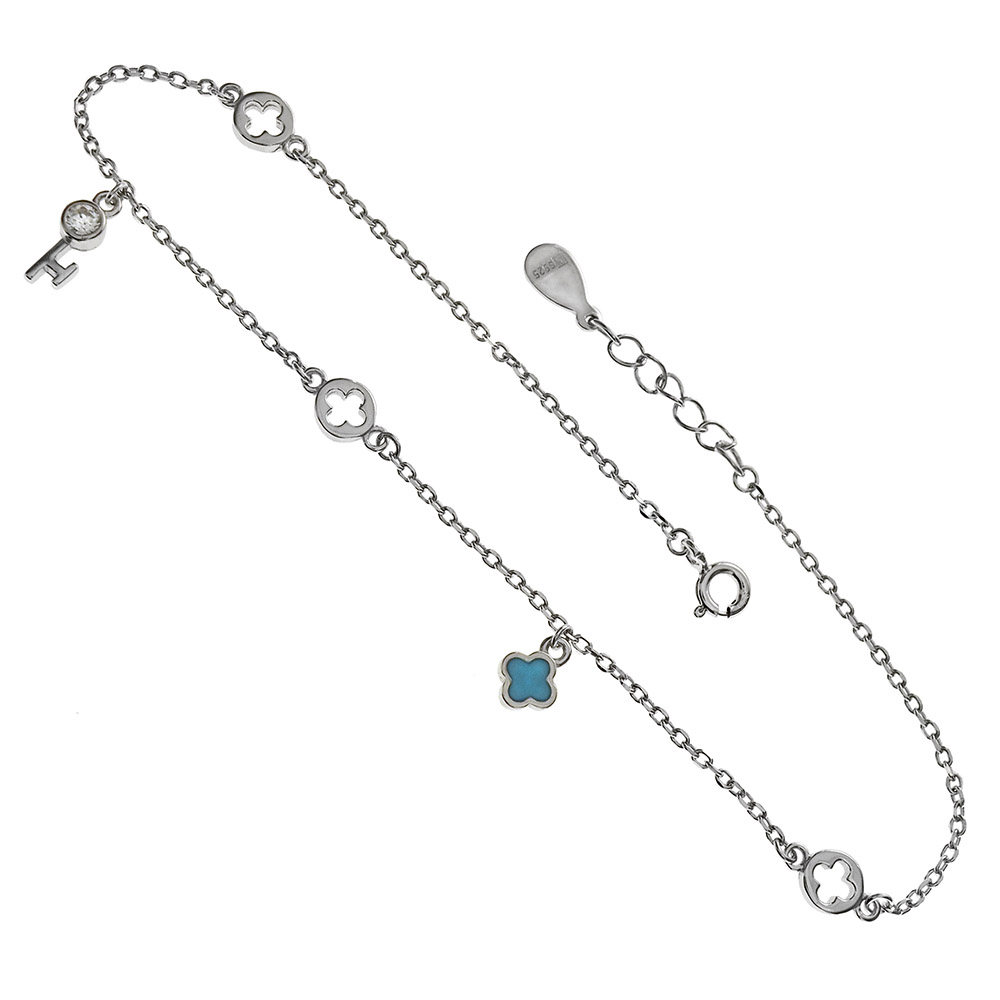 Sterling Silver CZ Key & Turquoise Blue Enamel Charm Rhodium Anklet