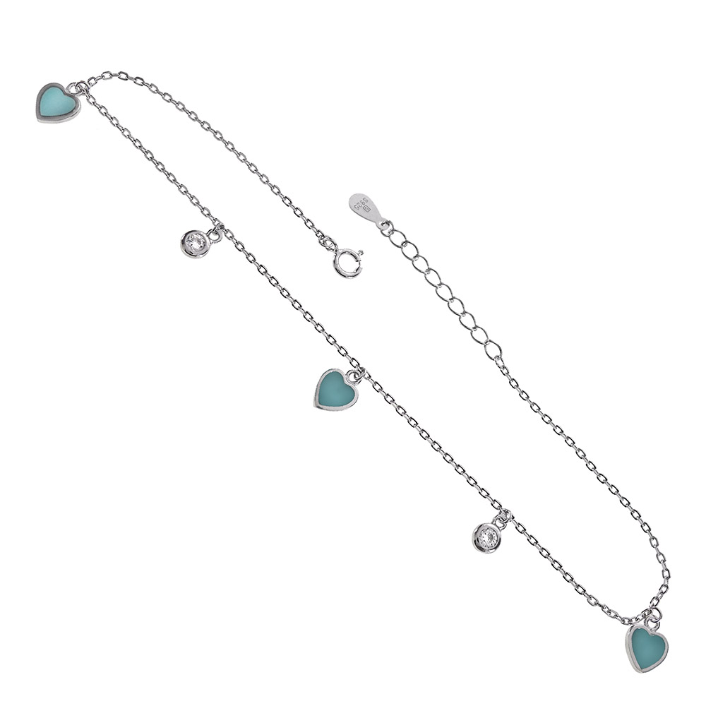 Sterling Silver CZ & Turquoise Blue Enamel Heart Charms Rhodium Anklet