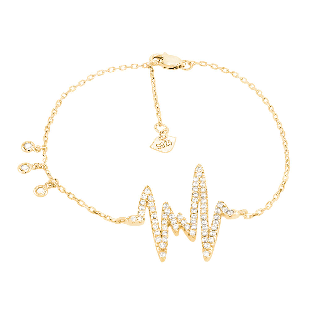 Sterling Silver Micro Pave CZ Heart-Beat Gold Plated Bracelet