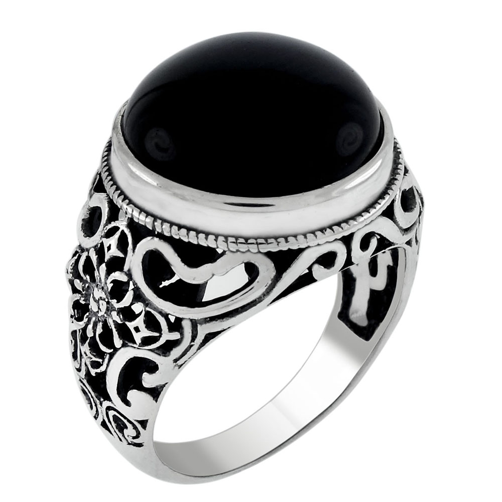 Sterling Silver Round Black Cat Eye Oxidized Ring