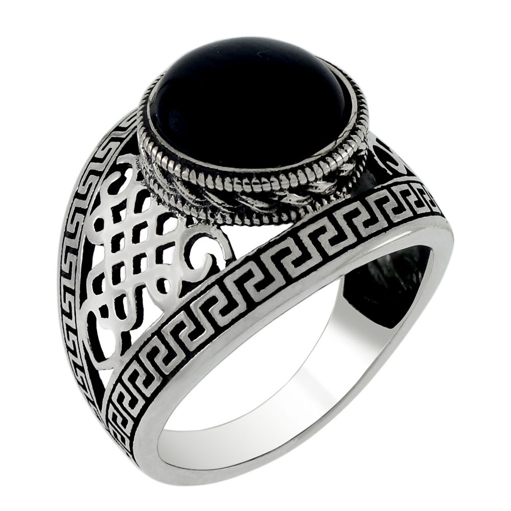 Sterling Silver 10mm Black Cat-Eye Oxidized Ring