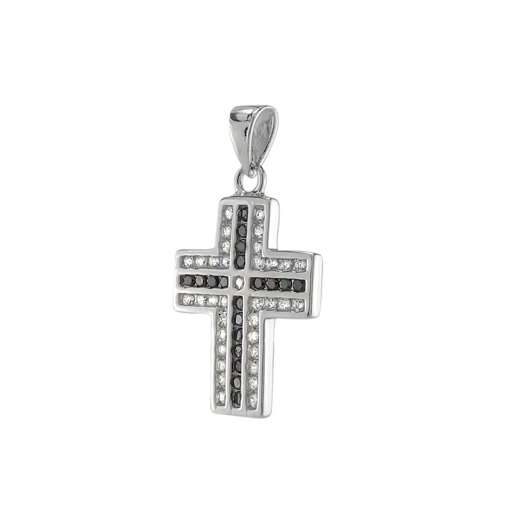 Sterling Silver Black & White CZ Cross Pendant