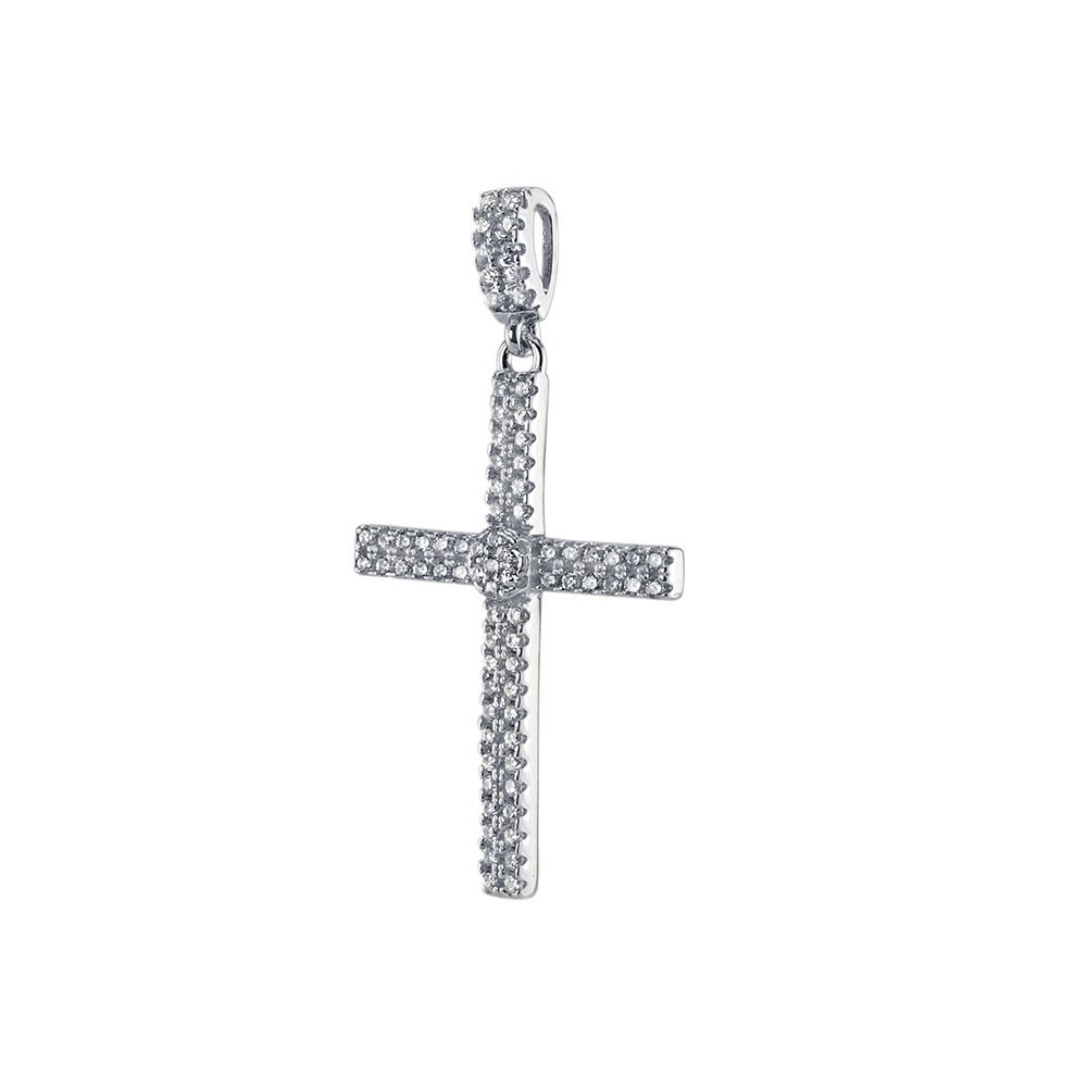 Sterling Silver Micro Pave CZ Cross Pendant