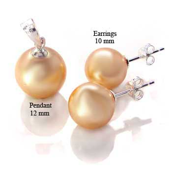 Sterling Silver Golden Yellow Synthetic Pearl Stud Earring & Pendant Set