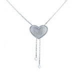 Sterling Silver Rolo D/C Hammer Heart Sliding Necklace
