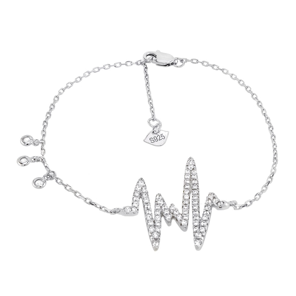 Sterling Silver Micro Pave CZ Heart-Beat Rhodium Bracelet