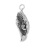 .999 Silver Eagle Head W. Red Eyes Oxidized Pendant