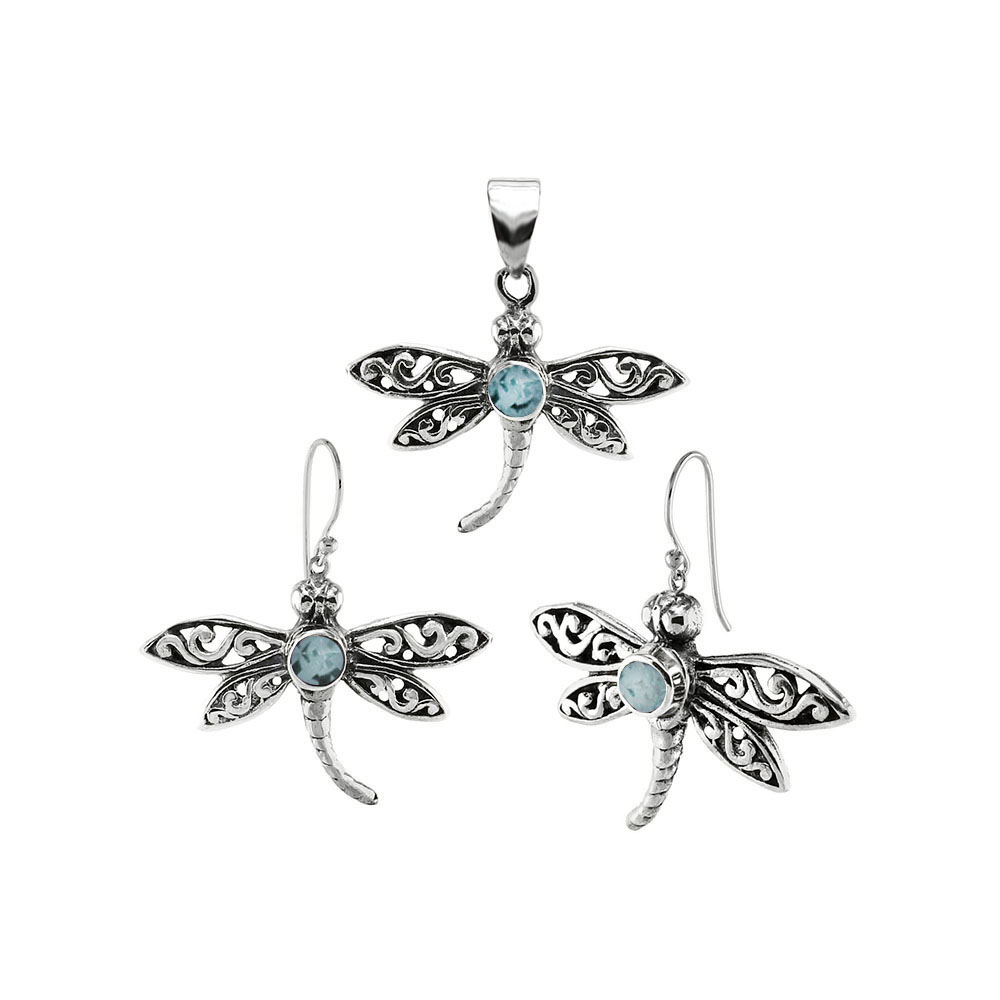 Sterling Silver Dragonfly W. Aquamarine Earrings & Pendant Oxidized Set