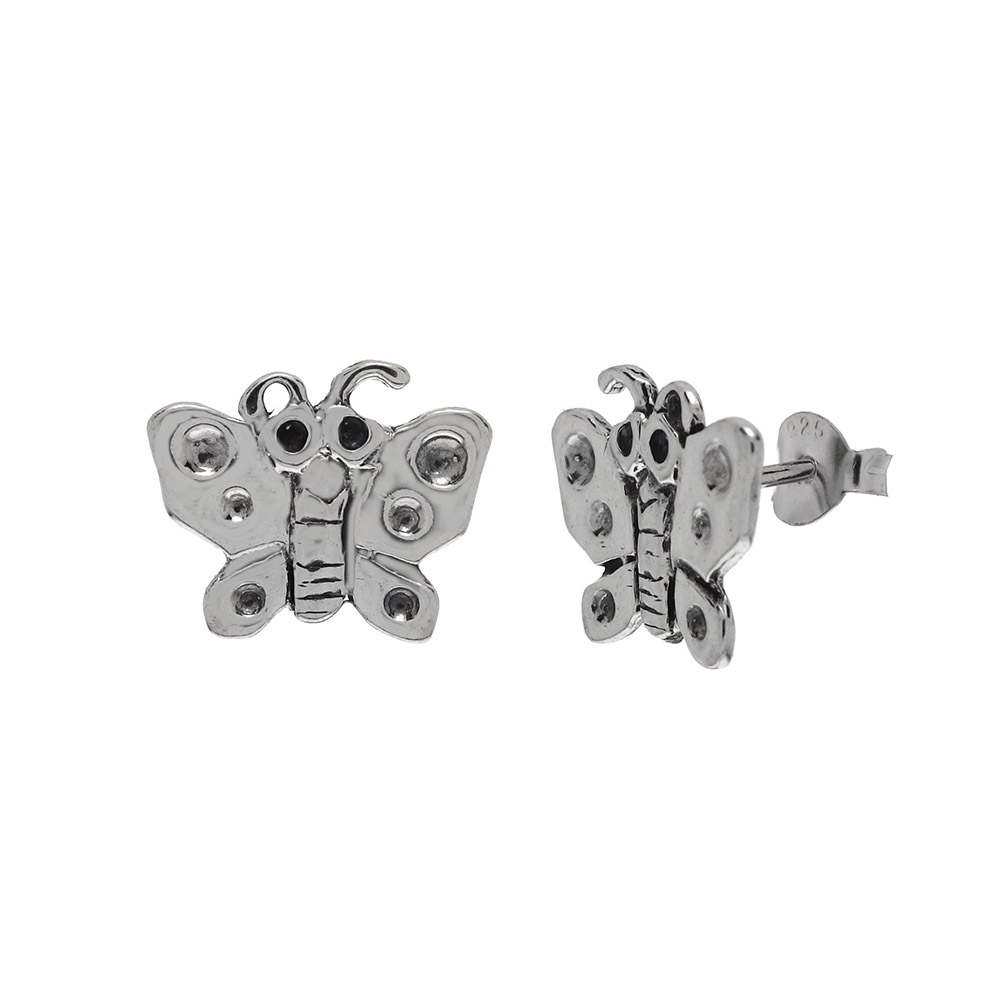 Sterling Silver Butterfly Oxidized Stud Earrings