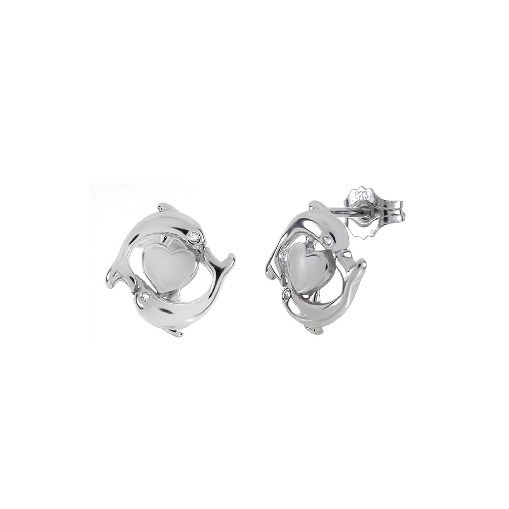 Sterling Silver Double Dolphin W. Heart Rhodium Stud Earrings