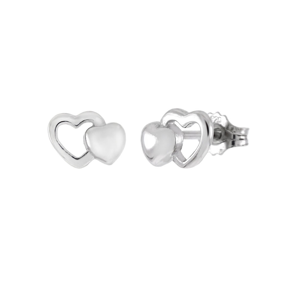 Sterling Silver Double Heart Rhodium Stud Earrings