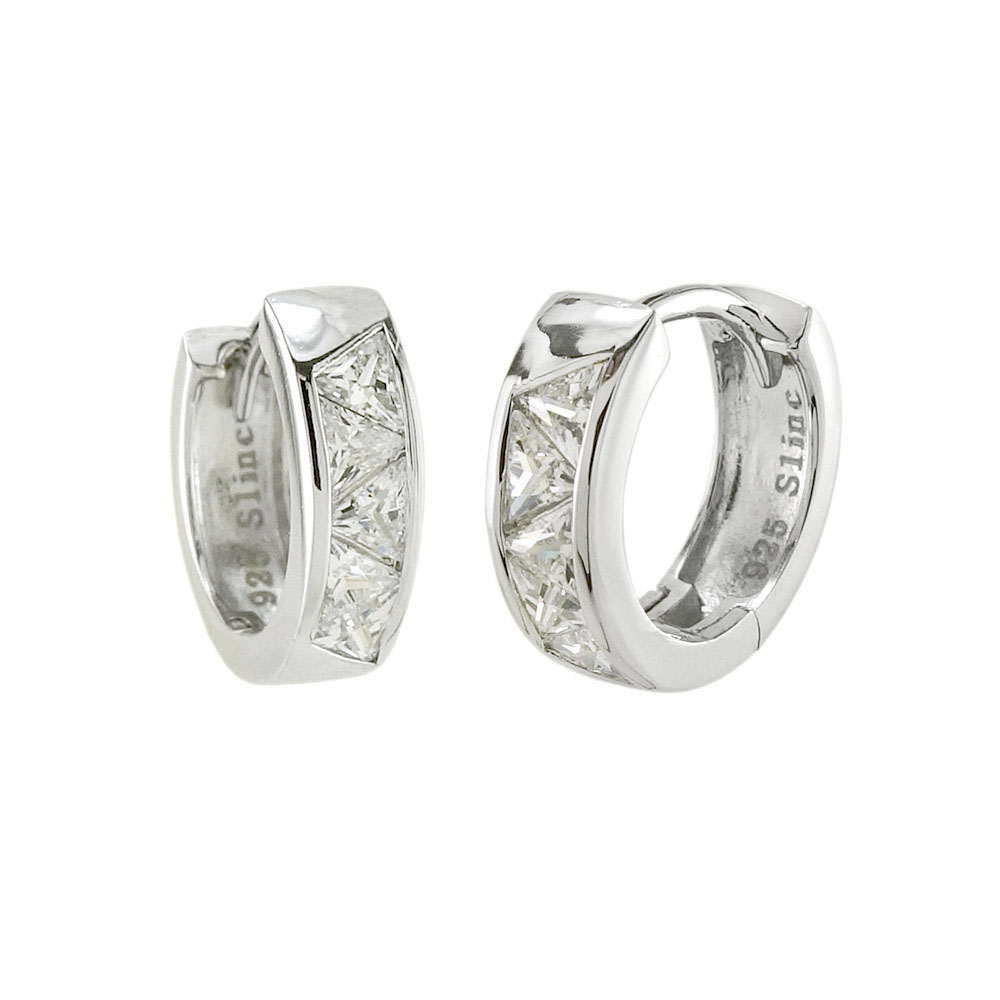 Sterling Silver Triangle CZ Huggie Earrings