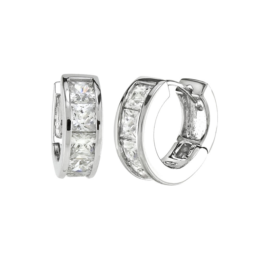 Sterling Silver Princess Cut CZ Huggie Earrings
