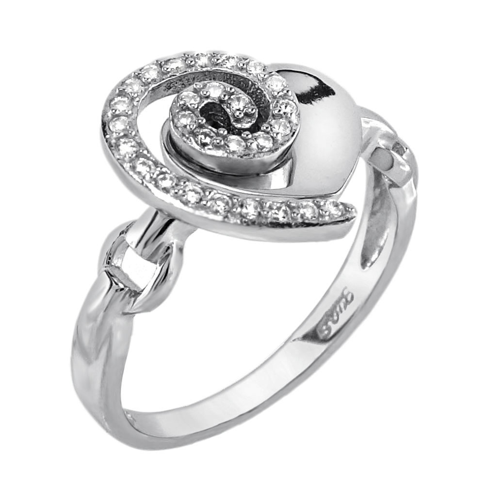 Sterling Silver Heart Shape CZ Ring
