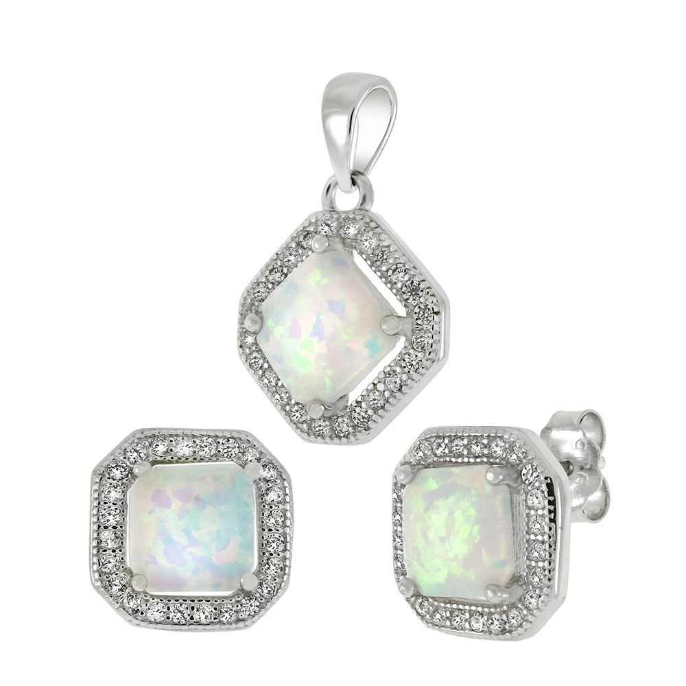 Sterling Silver CZ W. Simulated White Opal Earrings & Pendant Set