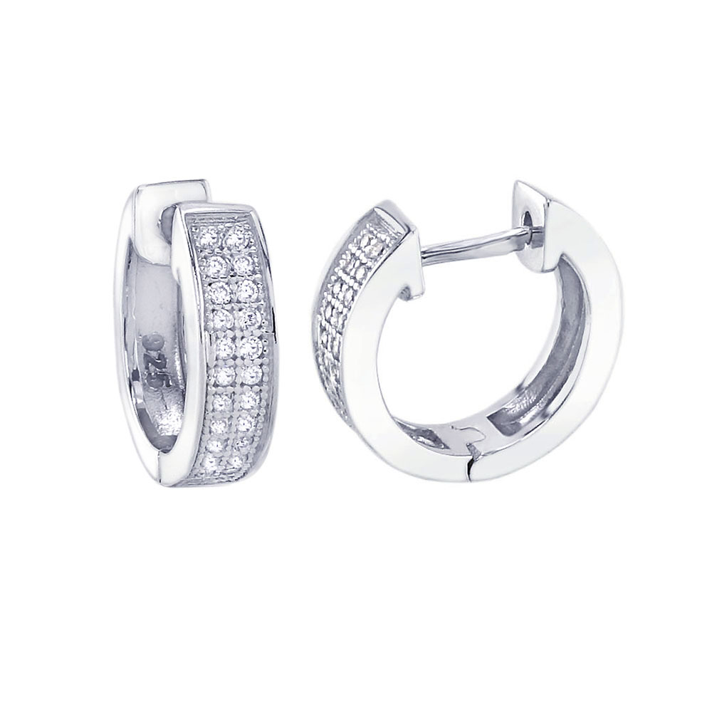 Sterling Silver Micro Pave 2 Lines CZ Huggie Earrings
