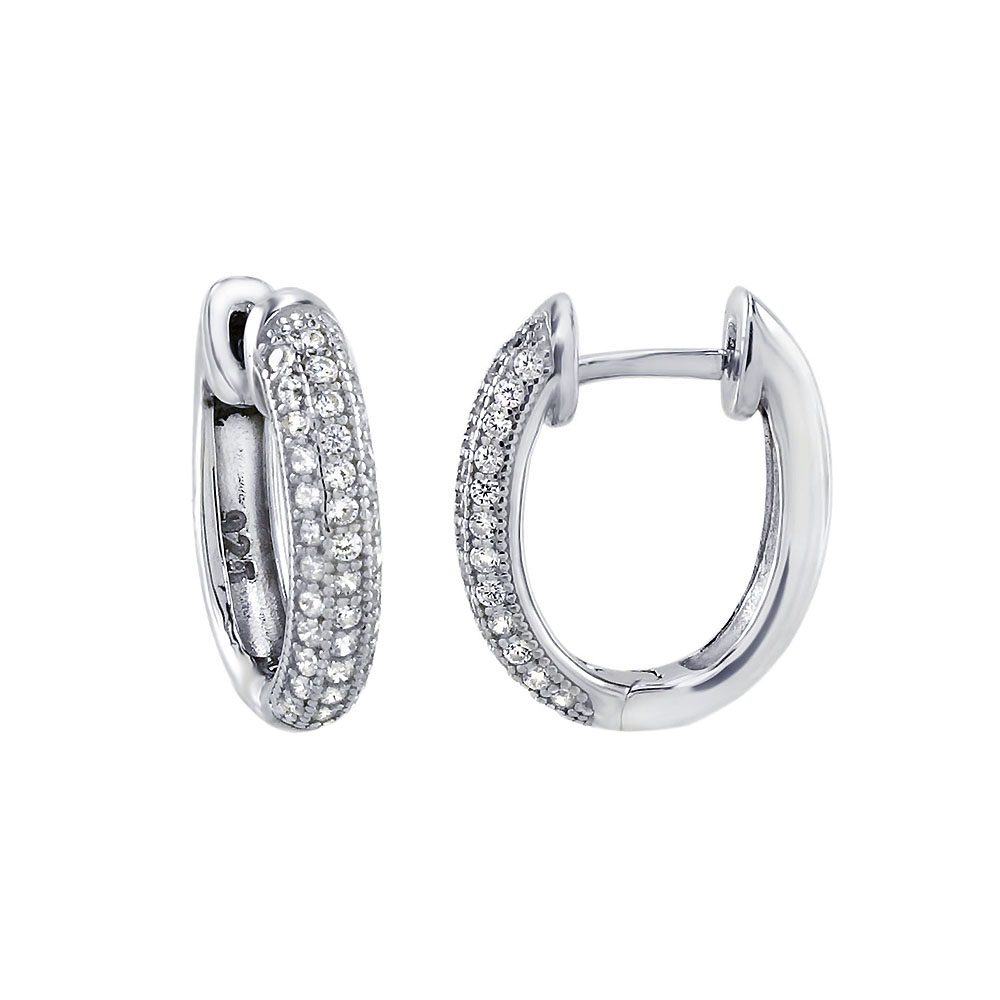 Sterling Silver Micro Pave Oval Shape Huggie Earrings