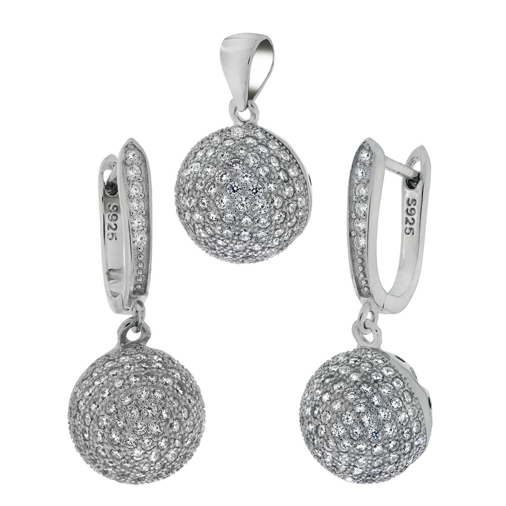 Sterling Silver CZ Ball Micro Pave Earrings & Pendant Set