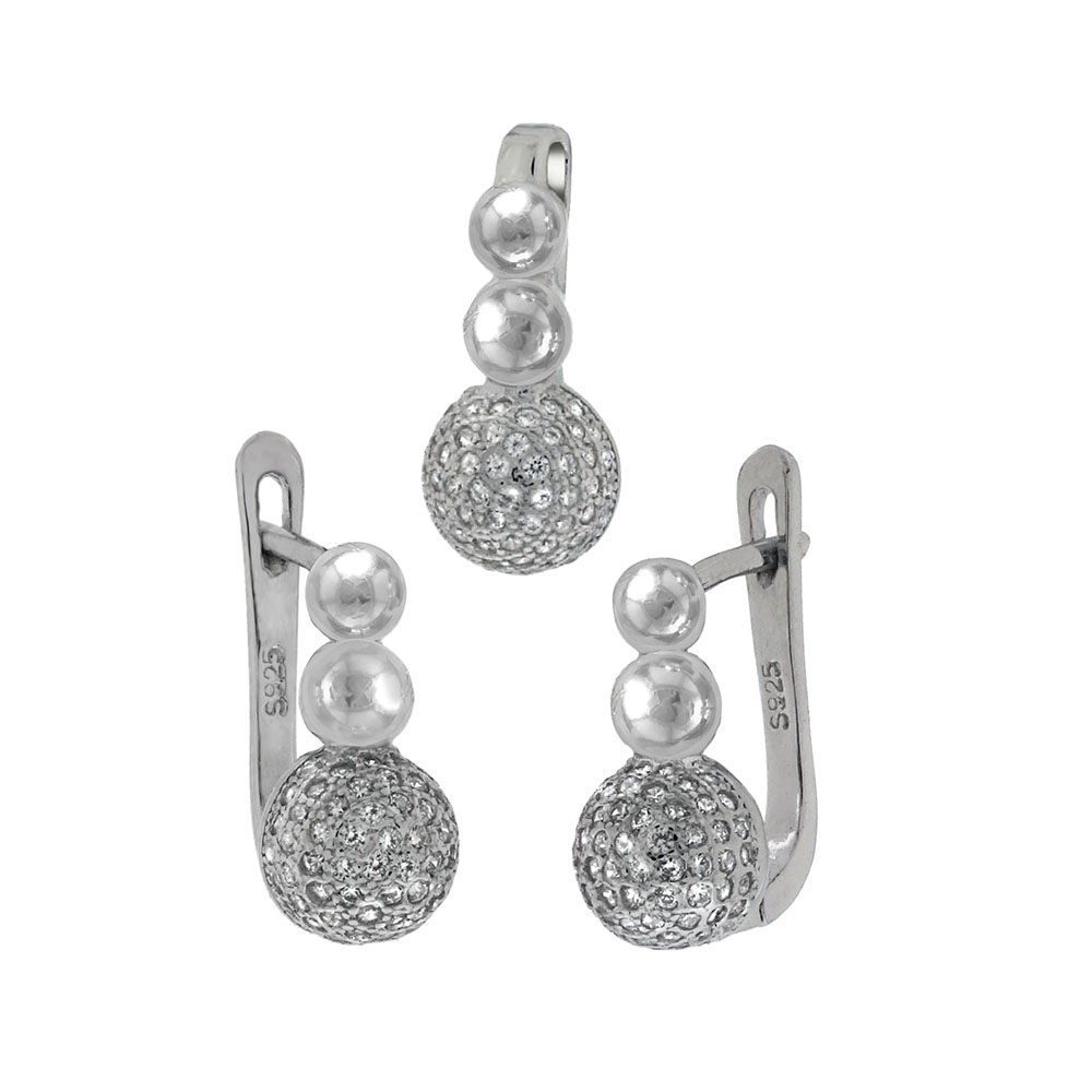 Sterling Silver CZ Micro Pave Balls Earrings & Pendant