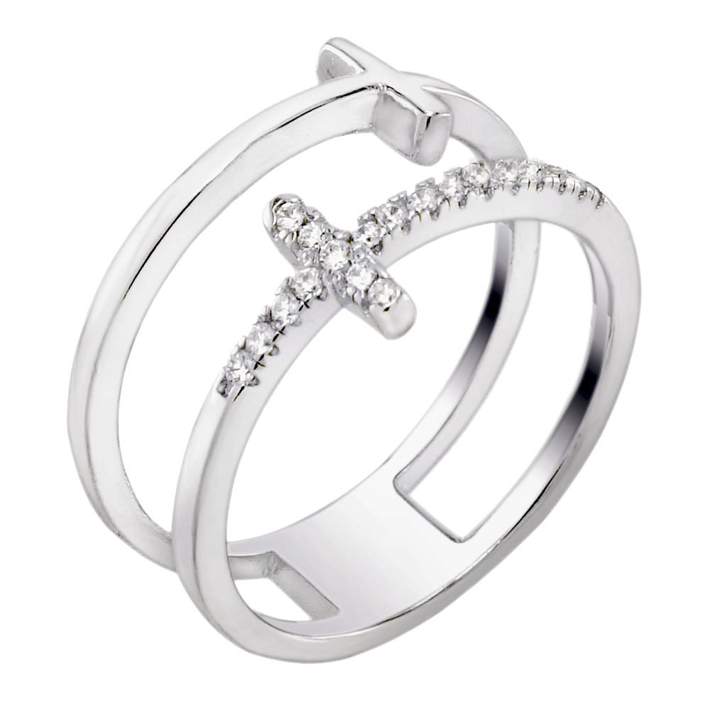 Sterling Silver Cubic Zirconia Double Crosses Ring