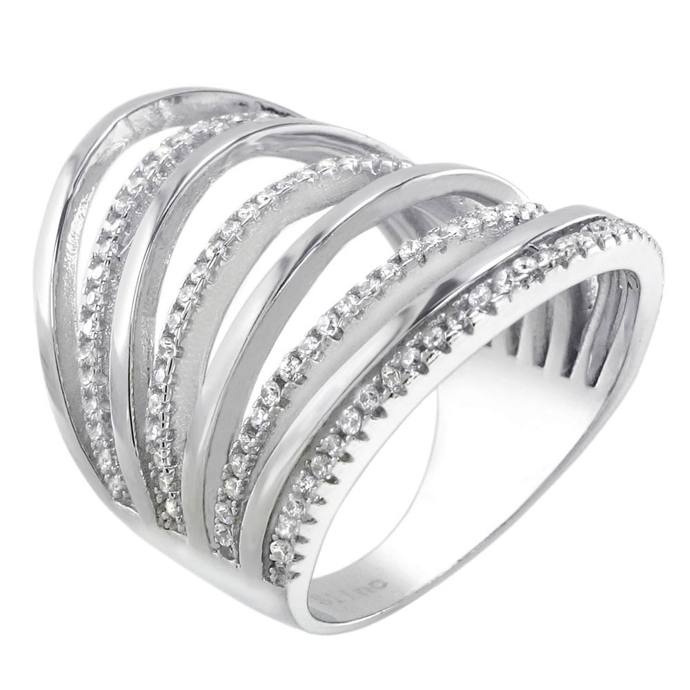 Sterling Silver 8 Line Cubic Zirconia Ring