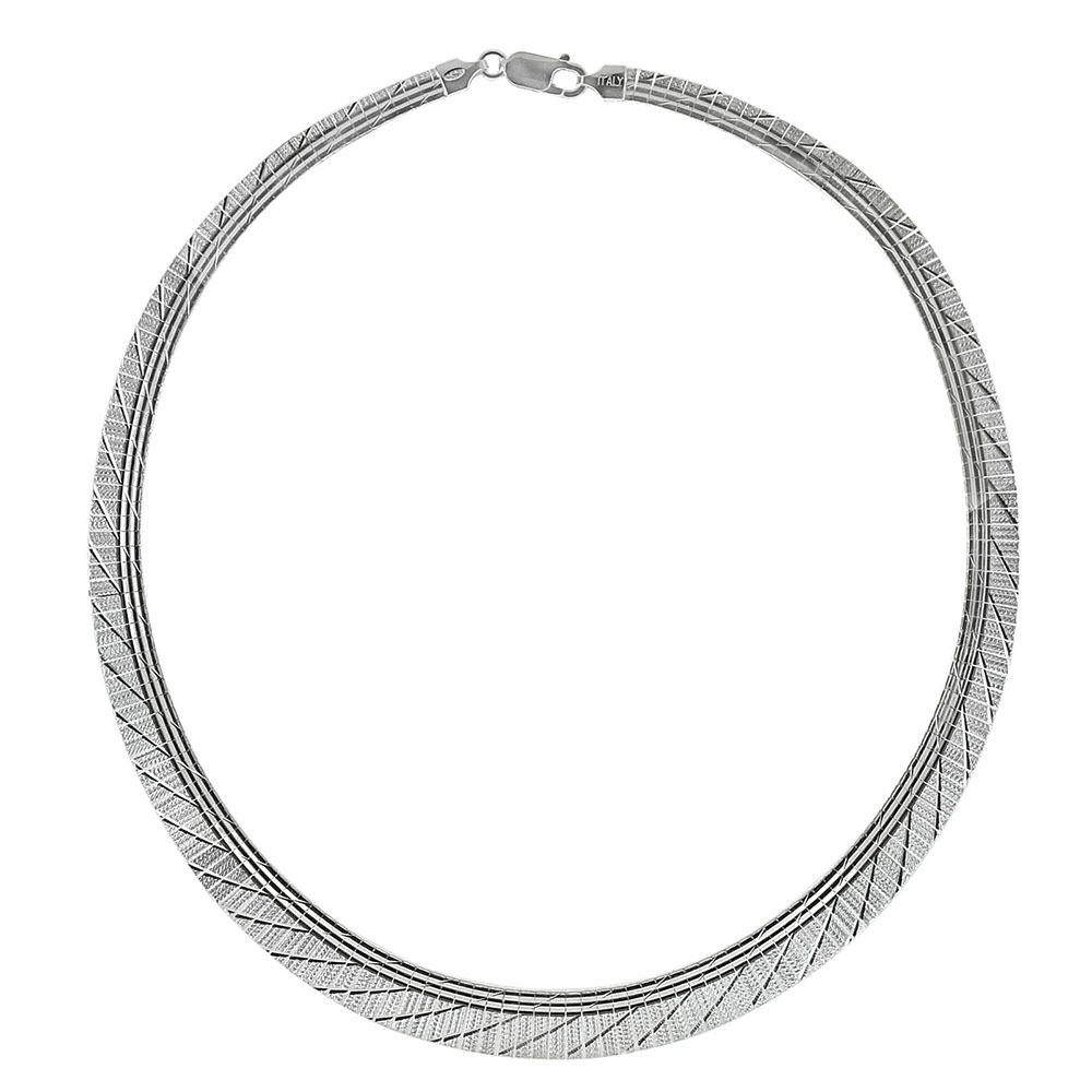Italian Sterling Silver Graduated Cleopatra D/C Necklace