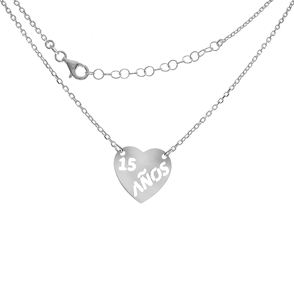 Italian Sterling Silver D/C Cable Chain W. Heart Pendant Necklace